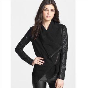Blank NYC Black faux leather wrap drap jacket M